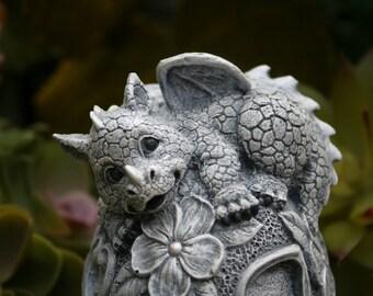 """Baby Dragon Statue - """"Bella on a Flower Ball"""" Concrete Dragon for Your Outdoor Fairy Garden Decor - Pet Dragon"""