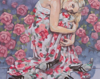 """Professional Fine Art, Original Contemporary Painting with Figure, Pigeons, Roses and Clouds, Figurative Oil Painting - """"Winter Delusion"""""""