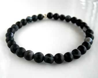 Black Banded Agate Stretch Bracelet Black Stacking Bracelet