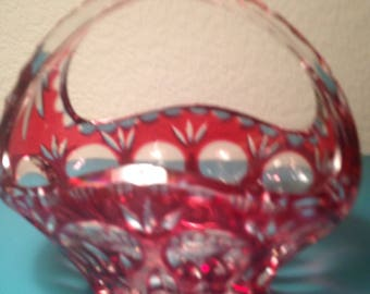 Bamberg cranberry cut to clear crystal basket