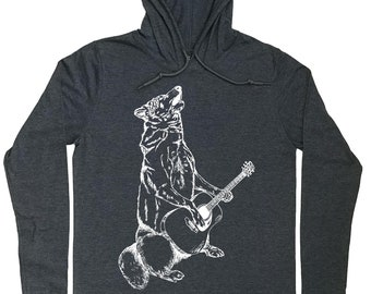 Hoodies for Men - Howling Wolf Tee - Guitar Player Gift - Guitarist Tee - Guitarist Hoodie - Wolf Hoodie - Mens Grey Tee - Wolf T Shirt