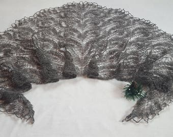 Gray lace shawl Knitted shawl Wool Shawl Gift for women Hand Knit Gift for mom Shawl wrap