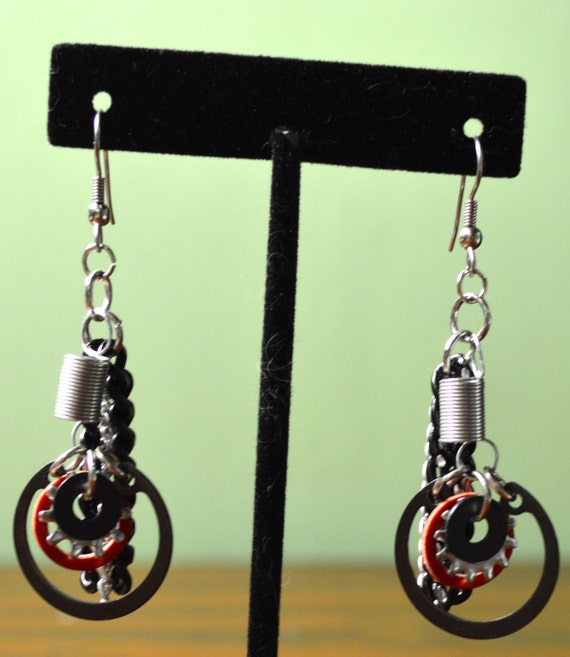 Upcycled, Eclectic, One-Of-A-Kind, Funky, Edgy, Spring and Hardware Washer EARRINGS