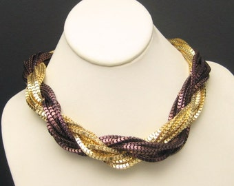 Vintage Torsade Necklace Mixed Metals 2 Colors Multi 14 Strand Extra Wide