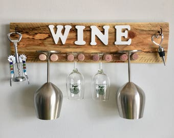 Rustic Wine Glass Holder with Hooks, Reclaimed Wood, Wall-mounted Wine Glass Holder