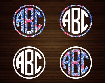 Circle Monogram Decal | Lilly Monogram Decal | Monogram Decal | Lilly Pulitzer | Vinyl Decal | Car Decal | Yeti Decal | Initials | Decal