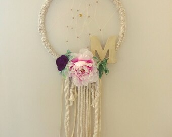 Custom Dreamcatcher, Personalized Dreamcatcher, Mongrammed Gift, Girls Room Decor, Nursery Decor, Wall Hanging, Dream catcher