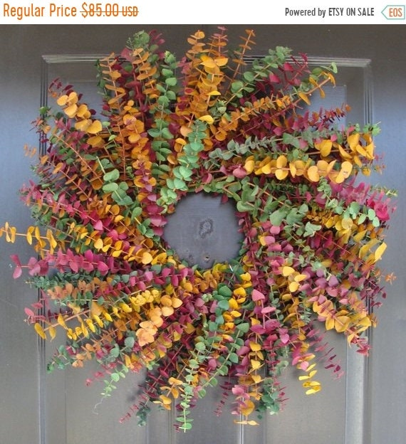 SUMMER WREATH SALE Eucalyptus Wreath- Spring Wreath- Dried Floral Wreath- Wall Decoration- Natural Home Decor