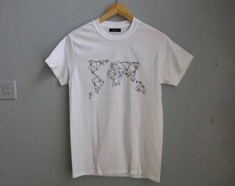 Origami Artist Gift- World Map T-shirt - Bright White