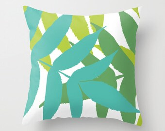Modern Botanical Leaf pillow with insert Cover - Teal Emerald Lime Green - Modern Home Decor - Summer Decor - By Aldari Home