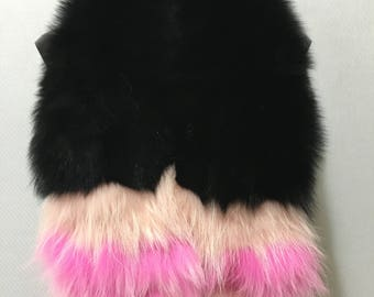 Beautiful Real Black with Fuchsia and Pink Stripes Fox Fur Collar & Scarf