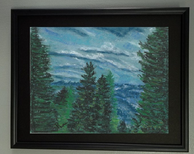 "8x10 Original Soft Pastel Painting, Trees Artwork, ""Majestic Georgia Mountains"""