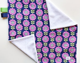 lovey blanket / minky lovey / security blanket / baby shower / baby gift / baby lovey / flower lovey / baby girl lovey / girl gift