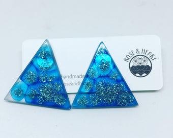 Glitter translucent sky blue eco resin geo triangle stud earrings