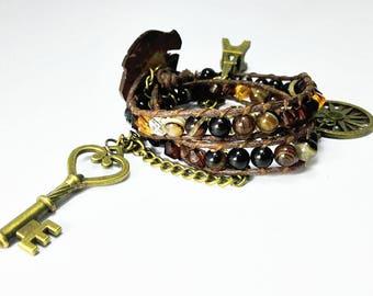 Boho Wrap Bracelet,Beaded Wrap, Bohemian Style, Charm Bracelet,Black Agate,Bead bracelet,Charm bracelet, Jewelry, Gypsy , goft, gift for her