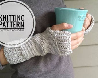 KNITTING PATTERN ⨯ Easy Fingerless Gloves Knit Pattern ⨯ Beginner Knitting Pattern, Fingerless Gloves ⨯ Knit Wrist Warmers Pattern PDF