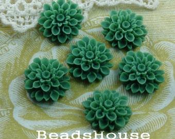 37-00-CA   6pcs Beautiful Crysanthemum Cabochon - Dark Green