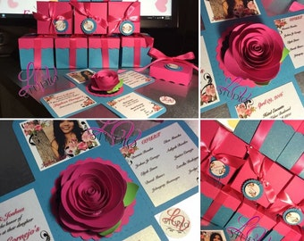 Rose center Exploding box invitation