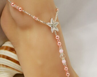 Barefoot Sandal Toddler Beach Jewelry Pearl Barefoot Bridesmaid Jewelry Beach Wedding Bridesmaids Pink Flower Girl Foot Jewelry