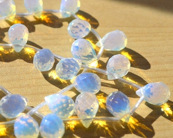 Opal Glass 9x6mm Faceted Briolette Beads   10