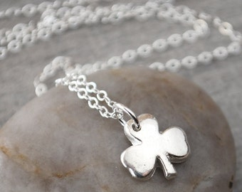 Silver Shamrock Necklace - Fine Silver Shamrock Pendant with Sterling Silver Chain - St. Patrick's Day Jewelry