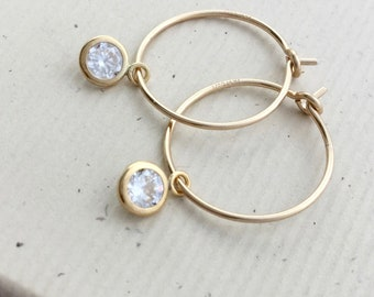 Small 14kt gold filled hoop with CZ, 1 inch, 15mm hoop with tiny 3mm cubic zirconia, lightweight minimalist, everyday jewelry E488