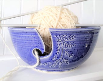 ceramic yarn bowl with delicate branch, crochet bowl, pottery wool bowl, wheelthrown yarn bowl, knitter's bowl, unique bowl, pottery gift