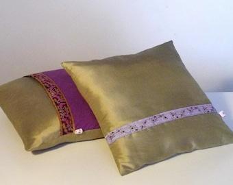 Cushion decorative Golden beige taffeta
