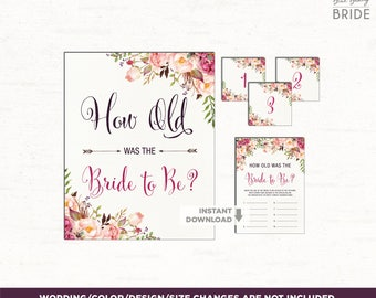 Floral Bridal Shower Game. How Old was the Bride to Be Watercolor Pink Burgundy Flowers. Boho Bridal Shower Decor. Wedding Shower Game. FLO7