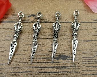 4 Magic Sword Charms, Antique Silver Tone,3D Charm-RS272