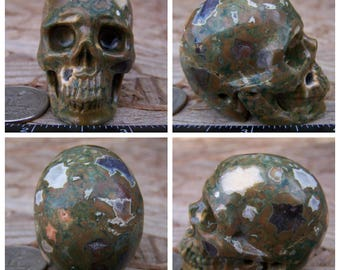 "1.9"" Rainforest Rhyolite Jasper 2.8oz 79.2g Skull Realistic Crystal Healing Hand Carved Handmade Altar Shrine Reiki Wicca Green SK2350"