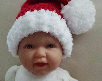 Santa Hat,Red & White Santa Hat,Crochet Baby Photo Prop,Christmas Baby Hat,Crochet Baby Gift,Santa PomPom Hat,Baby Gift,Made to Order