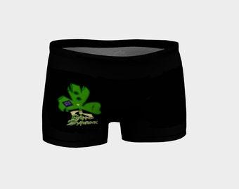 Ragged Shamrock Shorts-Black