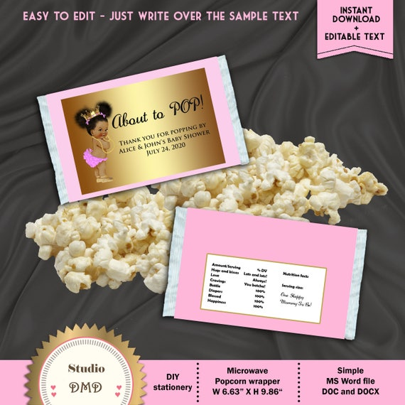 Printable Microwave Popcorn Wrapper Ready To Pop Little