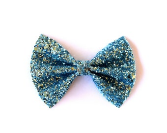 True Blue Glitter Bow Adorable Photo Prop Easter Spring Summer Clip Pictures Headband for Newborn Baby Little Girl Child Adult