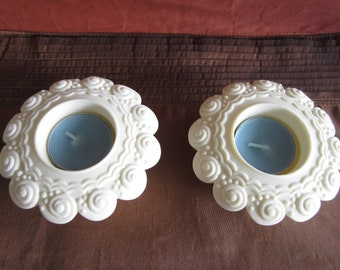 PARTYLITE, set of two, sea drifters, themed tealights, off white, round