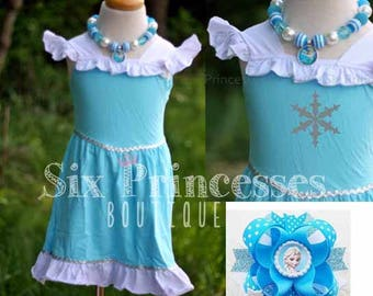 Birthday Princess Dress Elsa Frozen Snow Queen Girls Party Knit Disney Cruise Boutique Monogrammed Name Personalized Custom Monogram First