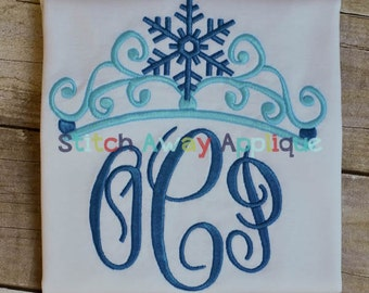 Ice Crown and Snowflakes Machine Embroidery Design