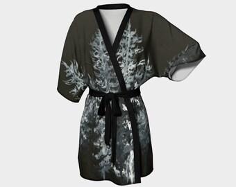 Silky Kimono Robe, wrap-style short robe, bridesmaid gift - printed with original art