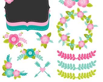 Floral Clipart, Clipart fleur, fleurs, fleurs graphiques, imprimable, utilisation commerciale