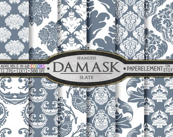 Slate Gray Damask Digital Paper Pack - Printable Backdrops for Scrapbooking, Weddings and Anniversaries