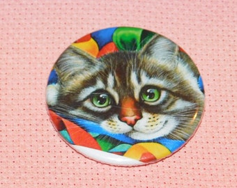 CLEARANCE, Seconds stock, Cat Needle Minder, Licensed, Cross Stitch Keeper, Irina Cawton Art, Fridge Magnet, Button Magnet, Pin Holder