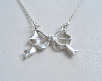Sterling Silver Bow Ribbon Necklace,Bow Jewelry,Bow Necklace,Love Knot Necklace,Tie The Knot Necklace, Bow Necklace Perfect Sentimental Gift