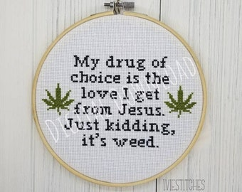 Weed Cross Stitch Pattern PDF Download weed Jesus Cross stitch Mary Jane cross stitch pot leaf cross stitch pattern pot leaf gift