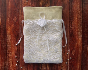 Ivory burlap dollar dance bag with white lace layer, Rustic wedding money bag, Burlap dollar bag in ivory color, Bride gift Bag