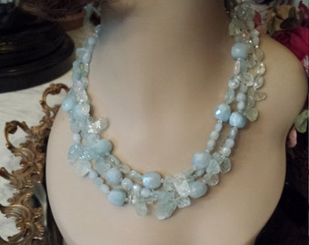 Aquamarine natural stone three strand necklace