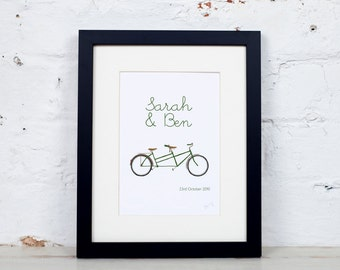 Personalised Wedding Anniversary Tandem Bicycles Print Cycling Wedding Couple Personalized
