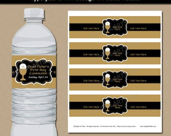 Black and Gold First Communion Party Decorations, Water Bottle Labels DIGITAL DOWNLOAD, 1st Communion Water Bottle Sticker Printable