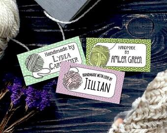 "Custom Fabric Labels, Boho Yarn Art, 2"" x 1"", 9 Styles, Earthtone Colors, 100% Preshrunk Cotton, Uncut, 80  Labels, Iron-on, Sew-on"