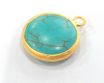 Gold Pendant Turquoise  Pendants , Gold Plated  Bezel 21 mm.  G915